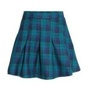 H&M Divided blue green pleated plaid tartan skirt